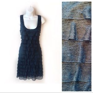 New Max Studio S Tiered Ruffle Blue Body Con Dress